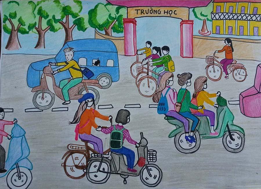 Ảnh tranh an toàn giao thông học đường