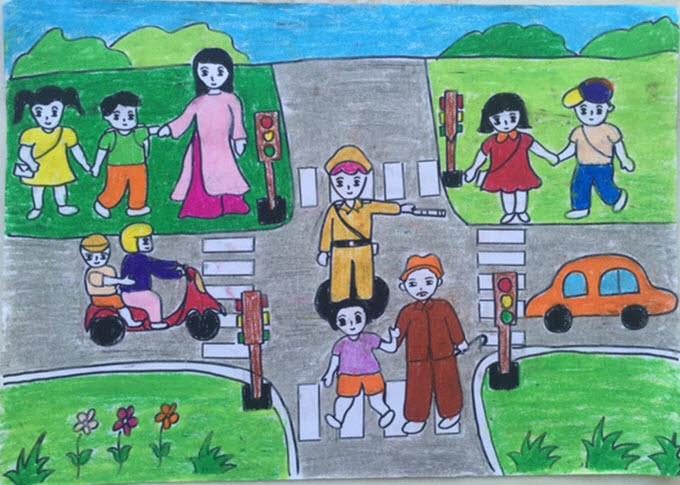 Bức tranh vẽ đề tài an toàn giao thông