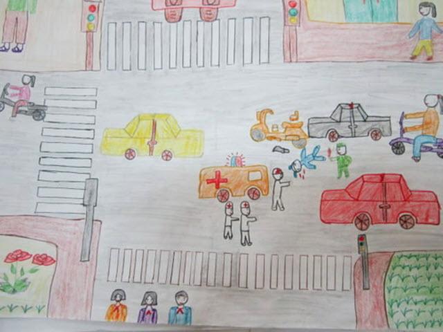 Những tranh vẽ về đề tài an toàn giao thông