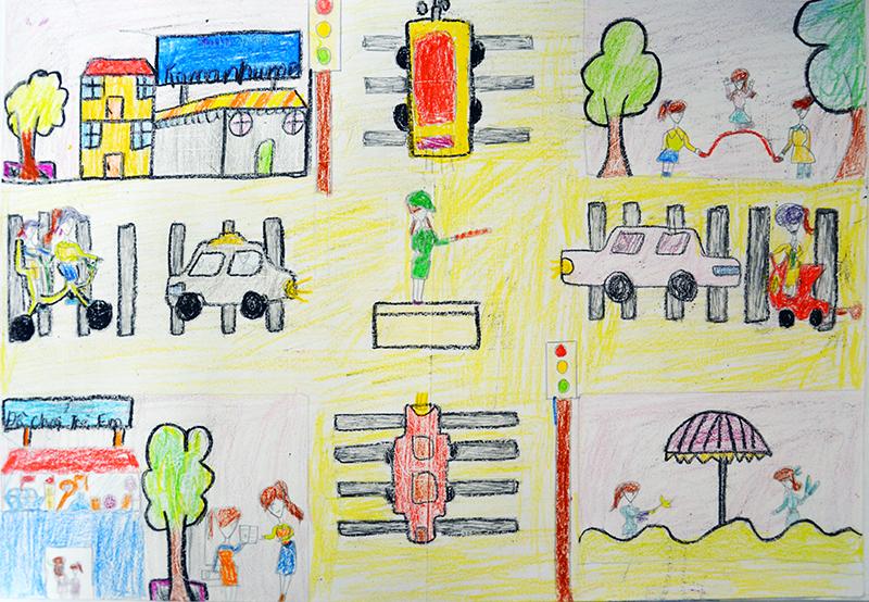 Tranh vẽ an toàn giao thông của học sinh cấp 2