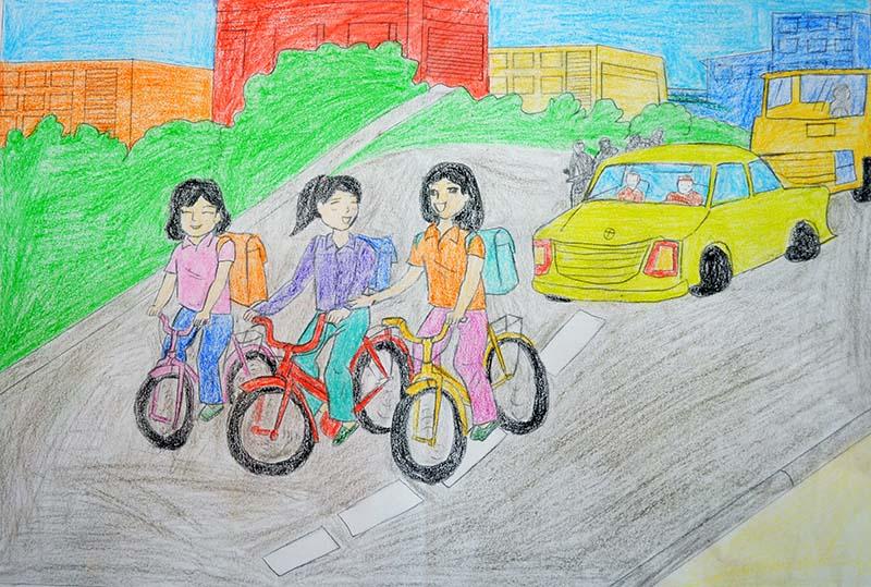 Tranh vẽ an toàn giao thông học sinh lớp 6
