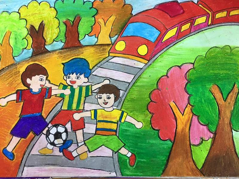 Tranh vẽ an toàn giao thông học sinh tiểu học