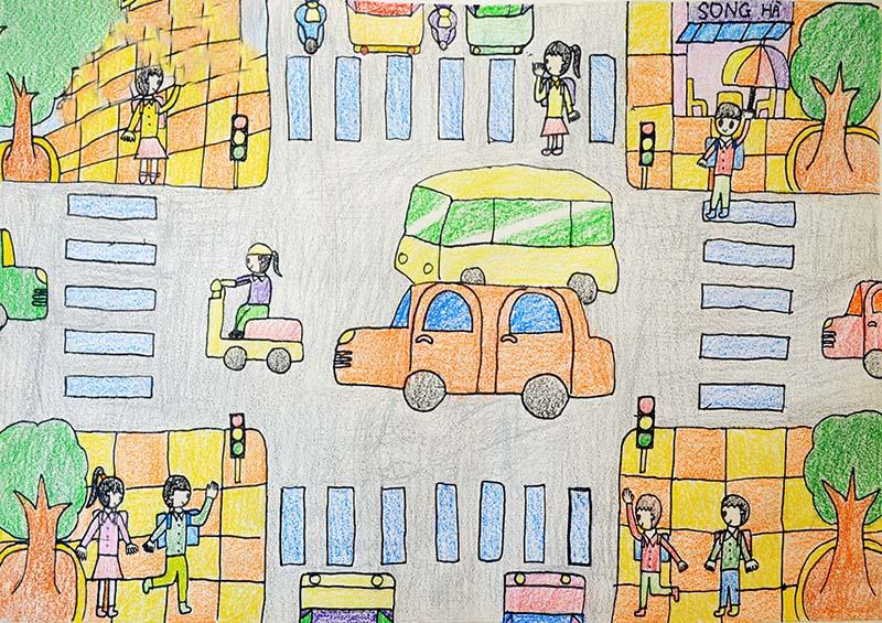 Tranh vẽ an toàn giao thông trên đường