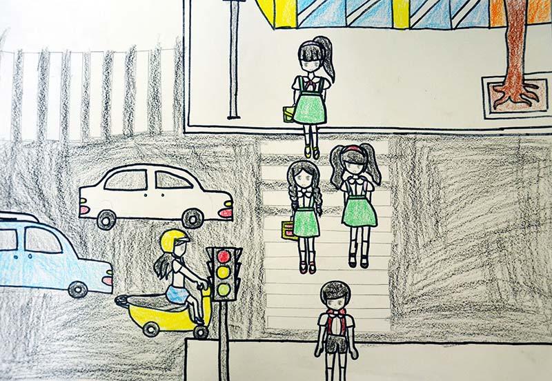 Tranh vẽ của học sinh lớp 3 về an toàn giao thông