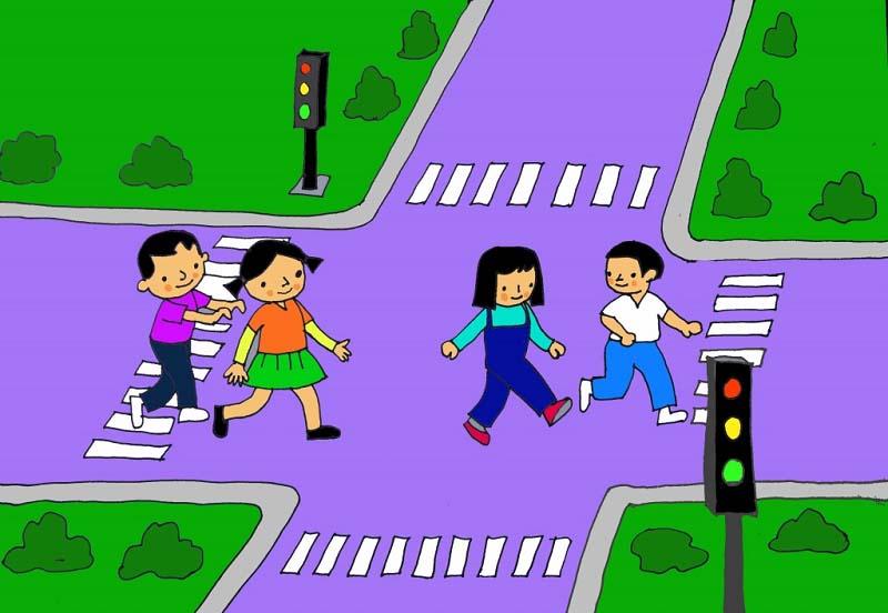 Tranh vẽ đề tài an toàn giao thông học sinh lớp 5