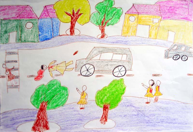 Tranh vẽ về an toàn giao thông của học sinh