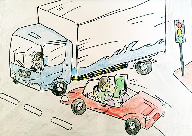 Tranh vẽ về đề tài an toàn giao thông