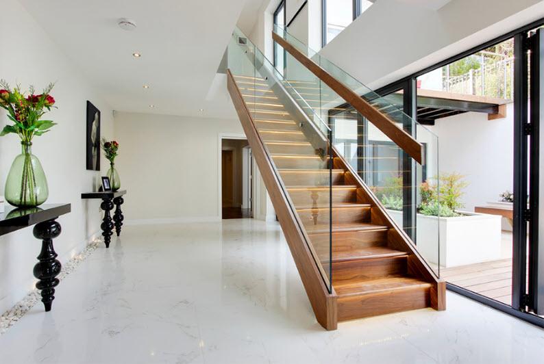 Cầu thang gỗ kính đẹp nhất