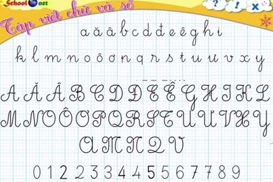 Bảng chữ cái tiếng Việt viết in hoa, in thường