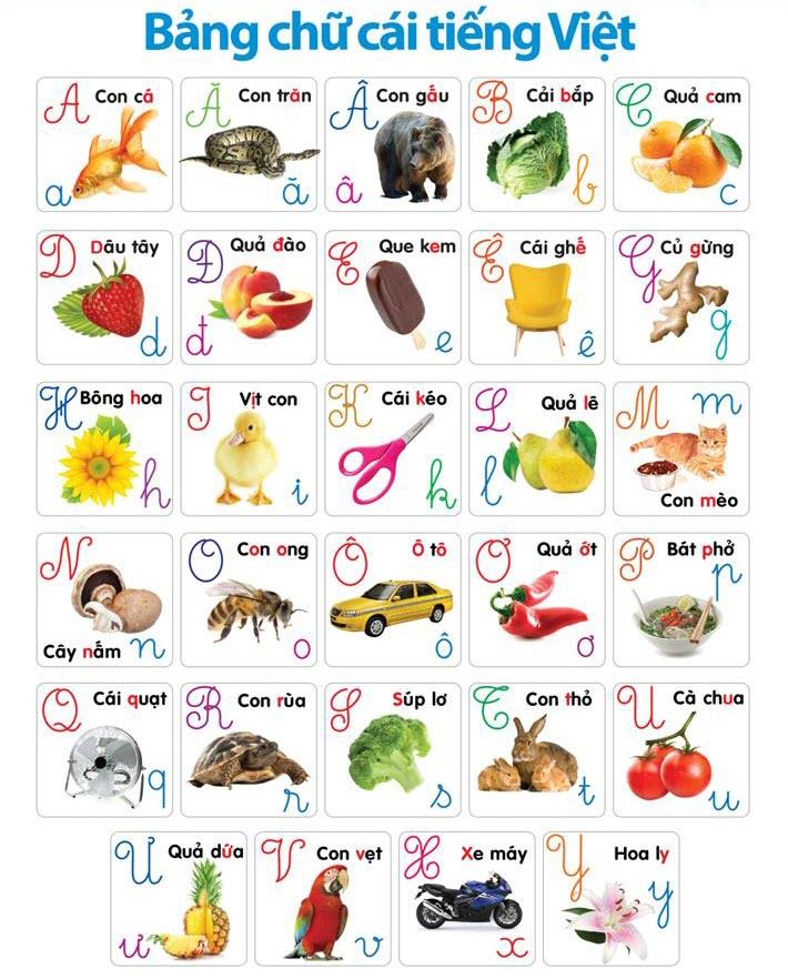 Hình ảnh bảng chữ cái tiếng Việt