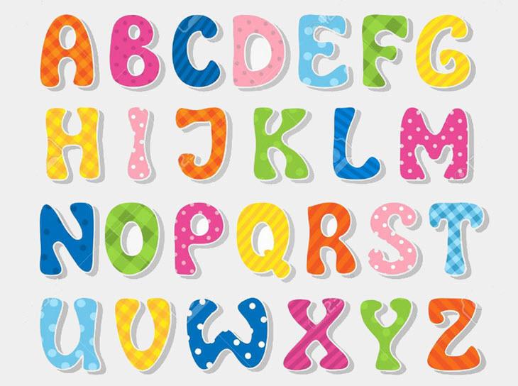 Hình bảng chữ cái tiếng Anh nhiều màu sắc