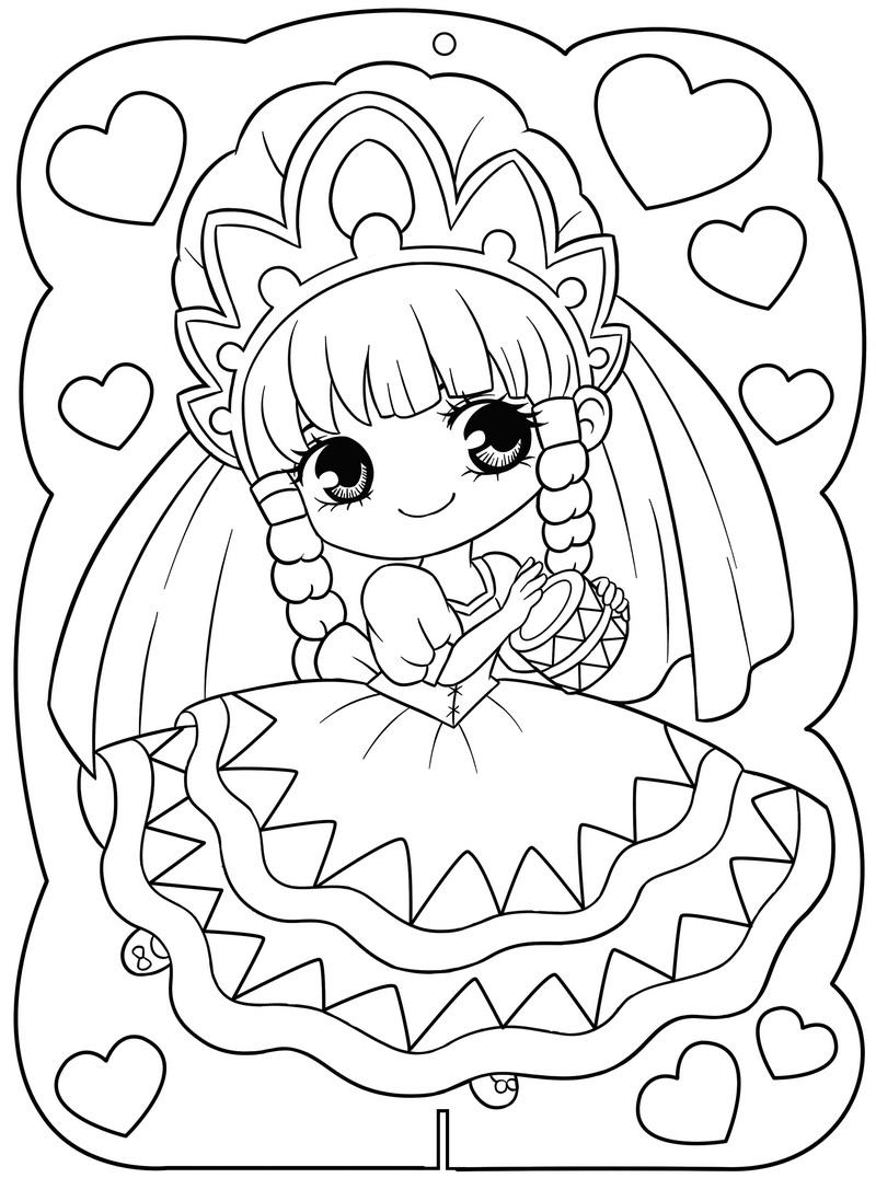 Hình tô màu công chúa cho bé gái