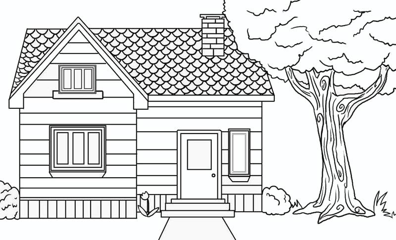 Hình tô màu ngôi nhà cho bé 5 tuổi