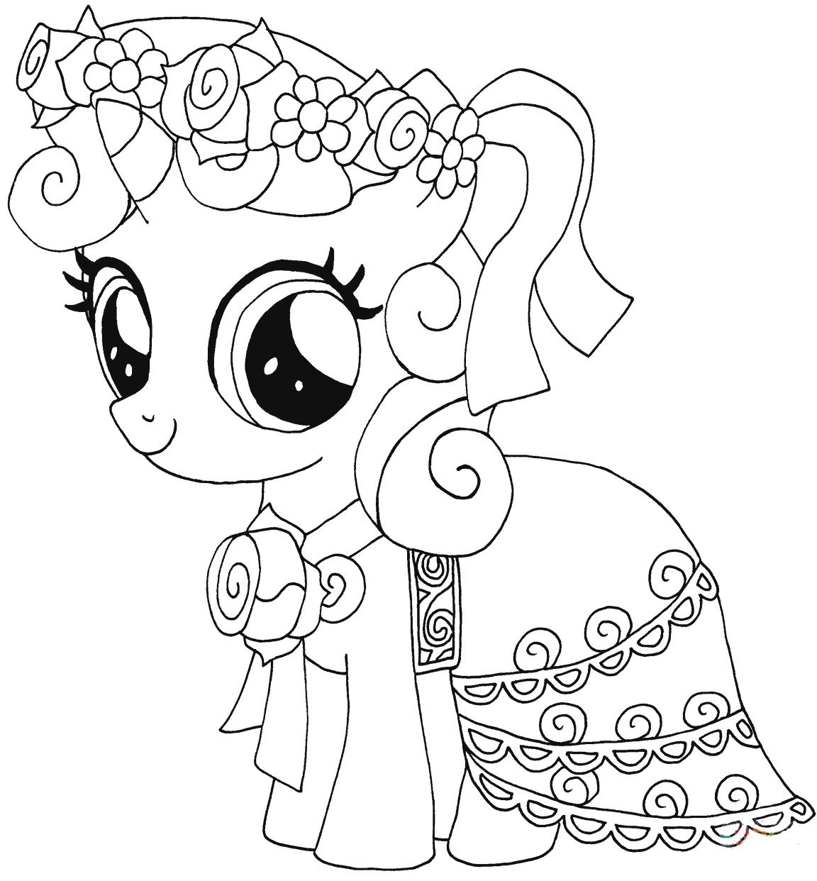 Hình tô màu ngựa Pony cho bé gái
