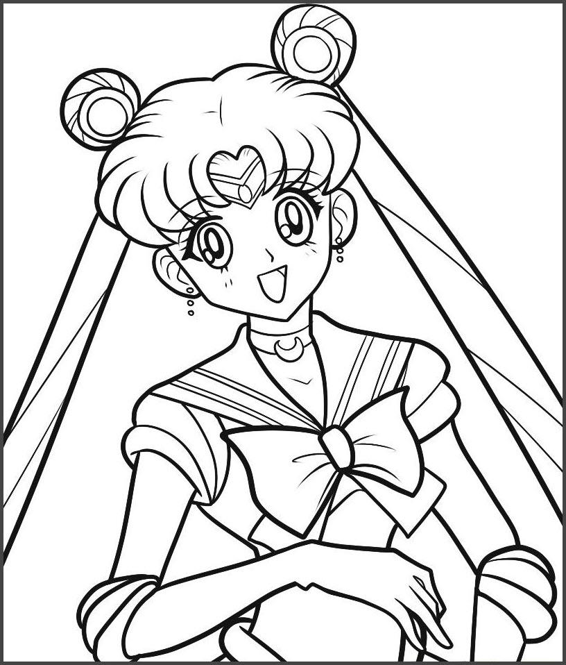 Hình tô màu thủy thủ mặt trăng cho bé gái