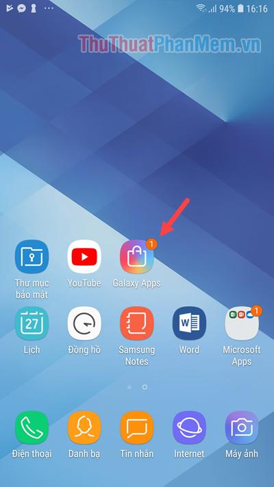 Mở kho ứng dụng Galaxy Apps