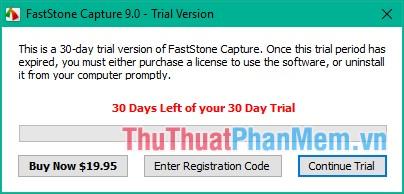 Nhấn Continue Trial để sử dụng miễn phí 30 ngày