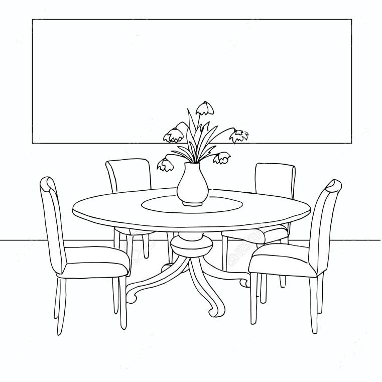 Tranh tô màu bộ bàn ghế cho bé 3 tuổi