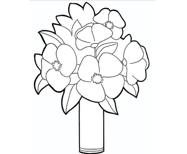 Tranh tô màu bó hoa cho bé 3-5 tuổi