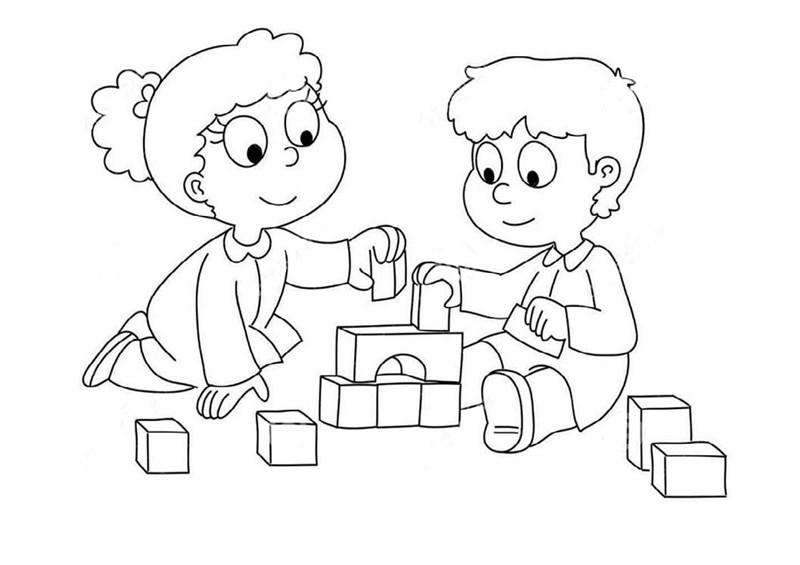 Tranh tô màu các em bé chơi đồ chơi đẹp