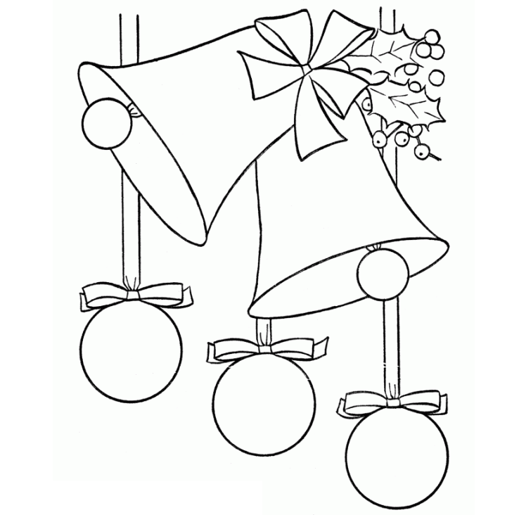 Tranh tô màu chuông giáng sinh cho bé 3 tuổi