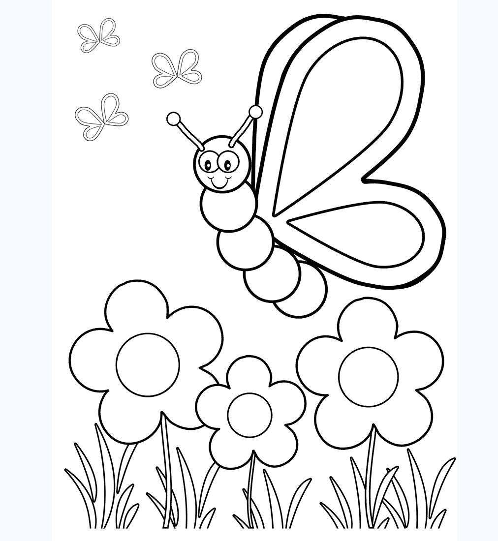 Tranh tô màu con bướm cho bé 3 tuổi