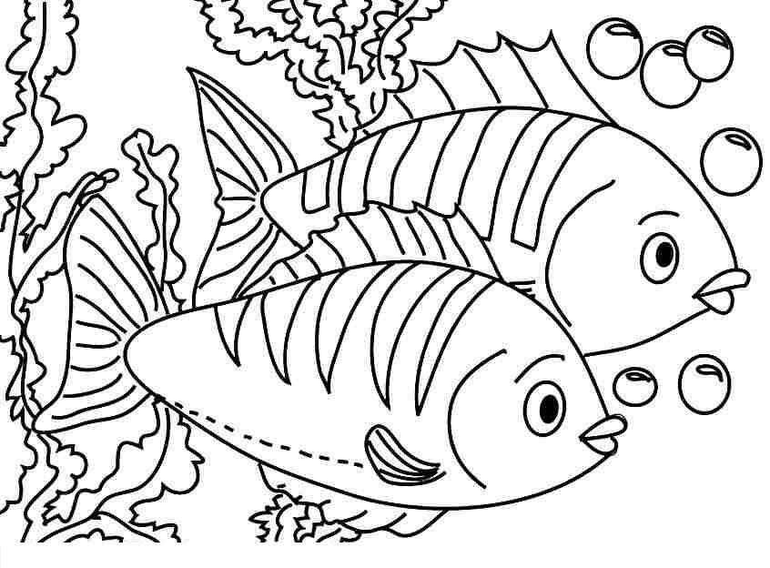 Tranh tô màu con cá cho bé 5 tuổi