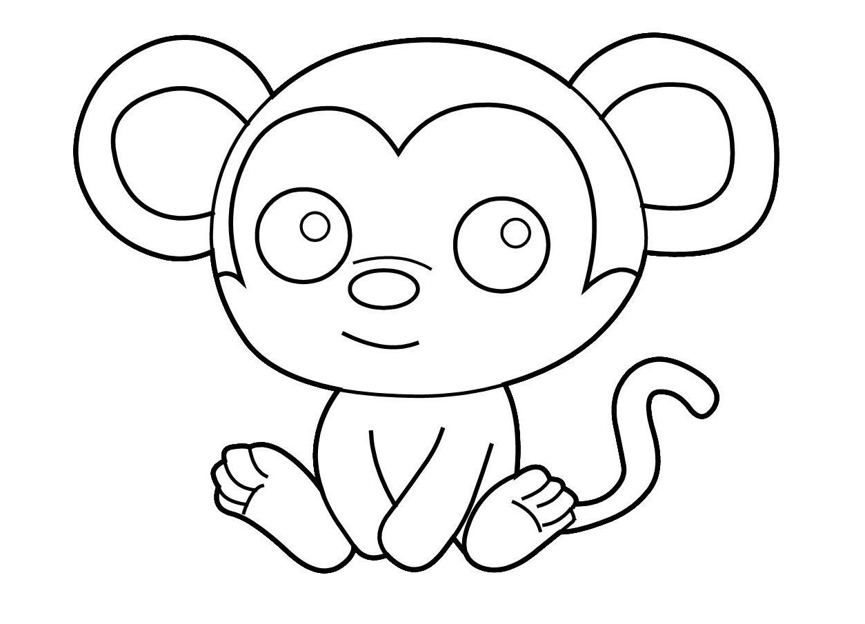 Tranh tô màu con khỉ cho bé 3 tuổi