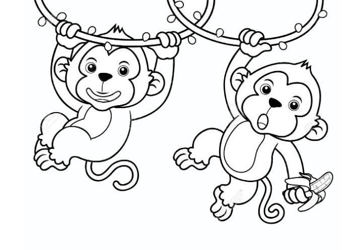 Tranh tô màu con khỉ đẹp cho bé 5 tuổi