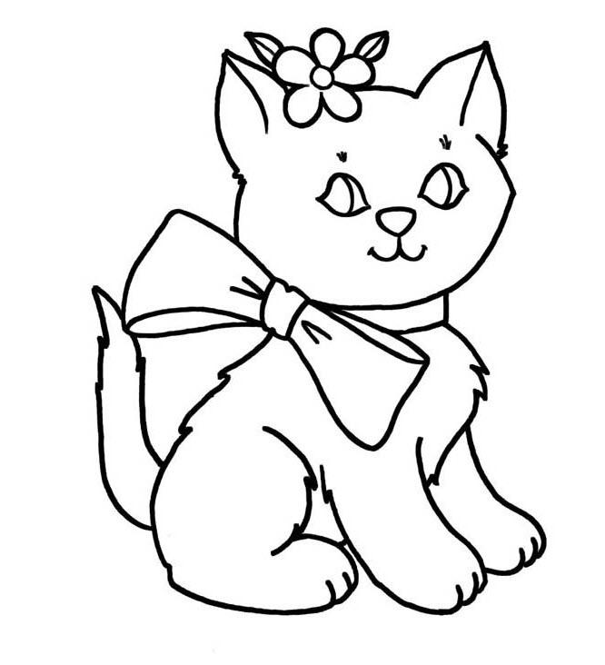 Tranh tô màu con mèo dễ thương