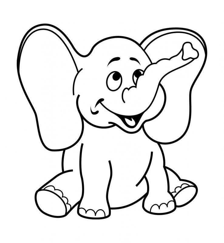 Tranh tô màu con voi cho bé 3 tuổi tập tô màu