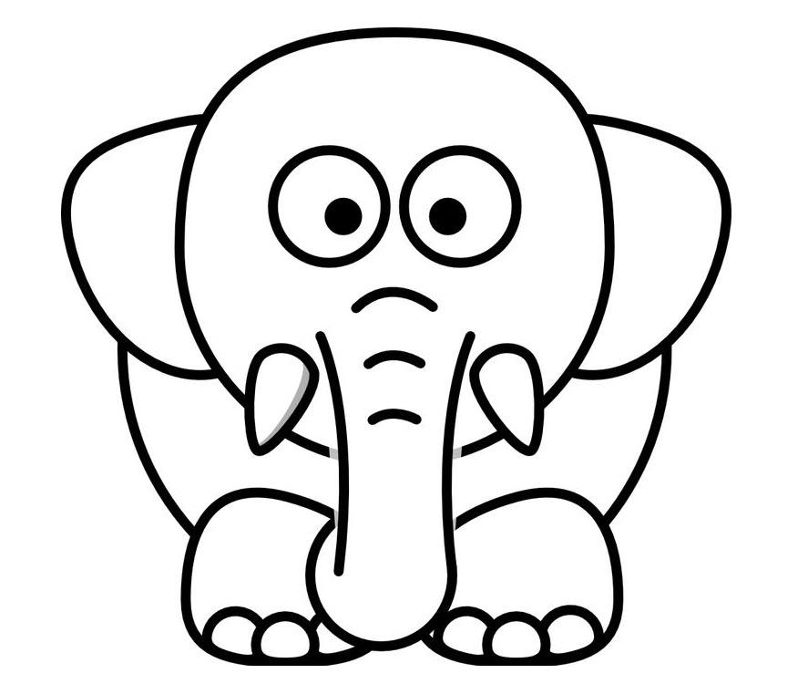 Tranh tô màu con voi cho bé 3 tuổi