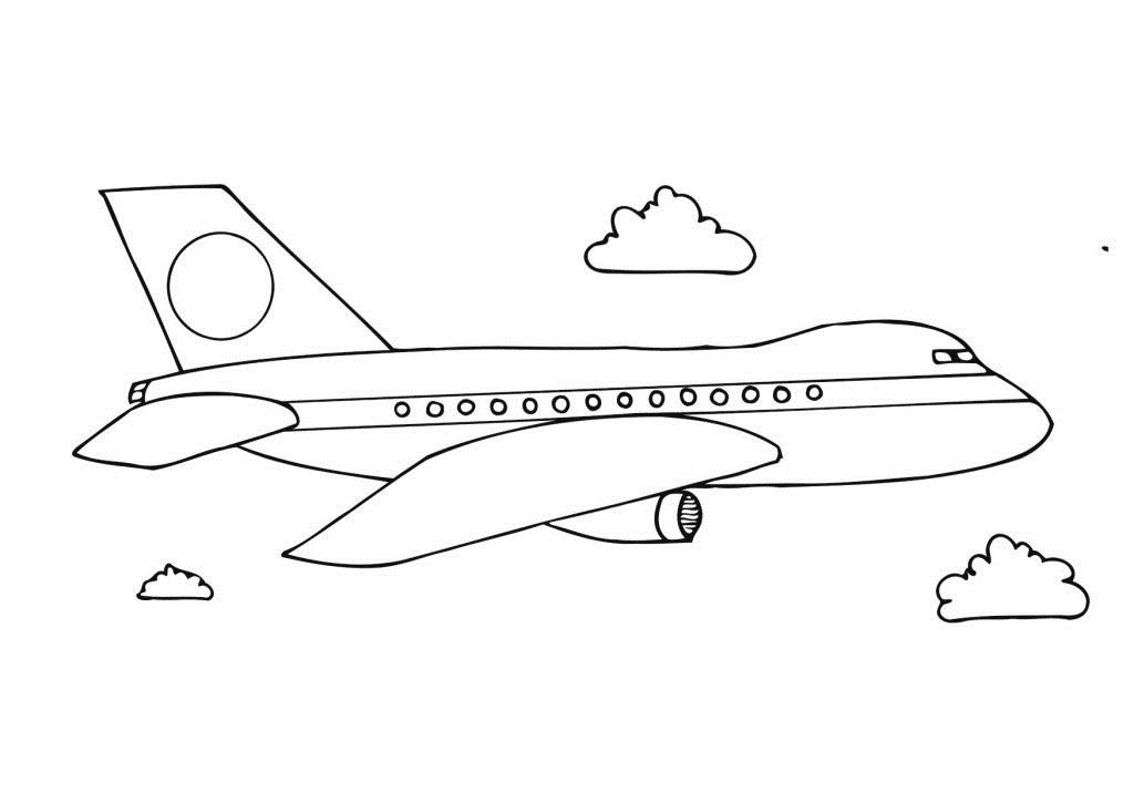 Tranh tô màu máy bay cho bé trai 3 tuổi