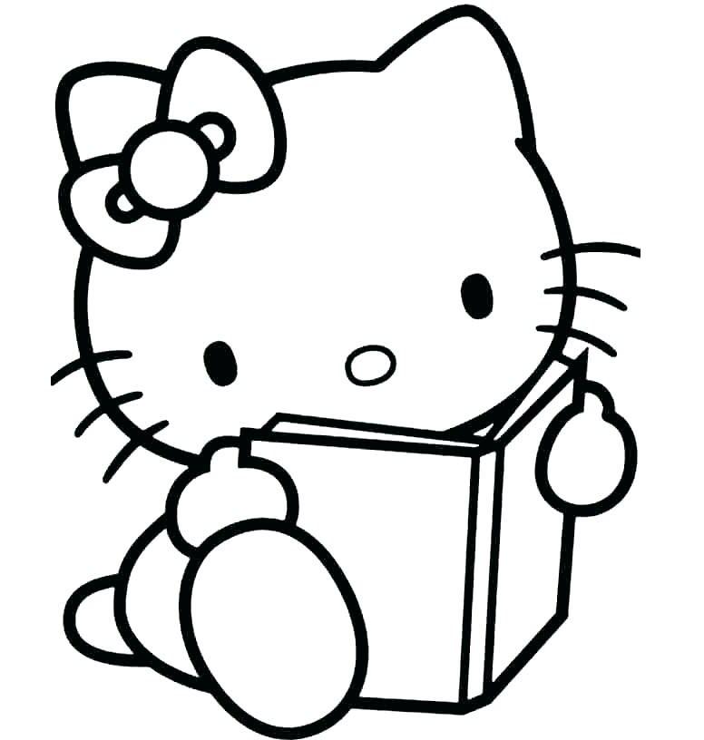 Tranh tô màu mèo kitty cho bé gái 5 tuổi