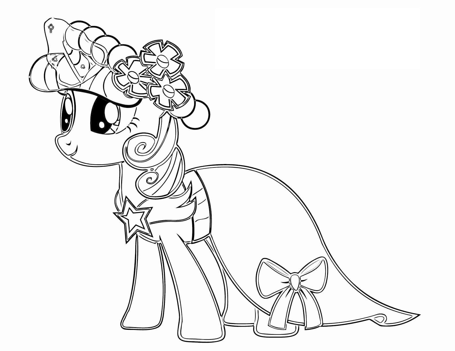 Tranh tô màu ngựa Pony cho bé gái