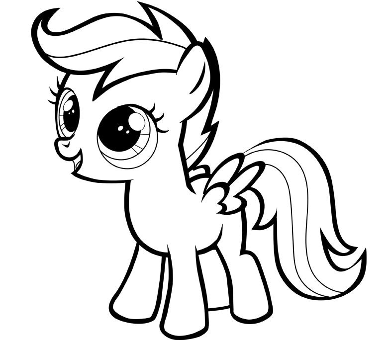 Tranh tô màu ngựa Pony dễ thương cho bé tập tô