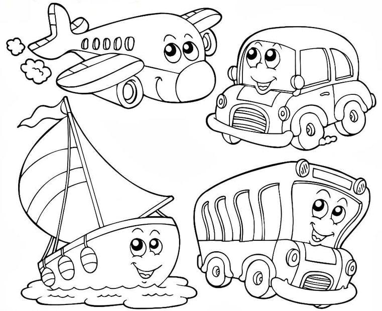 Tranh tô màu phương tiện giao thông cho bé 5 tuổi đẹp