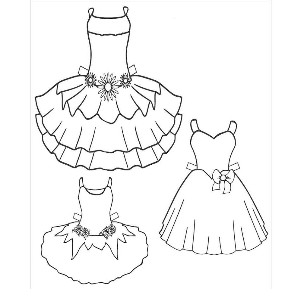 Tranh tô màu quần áo cho bé gái