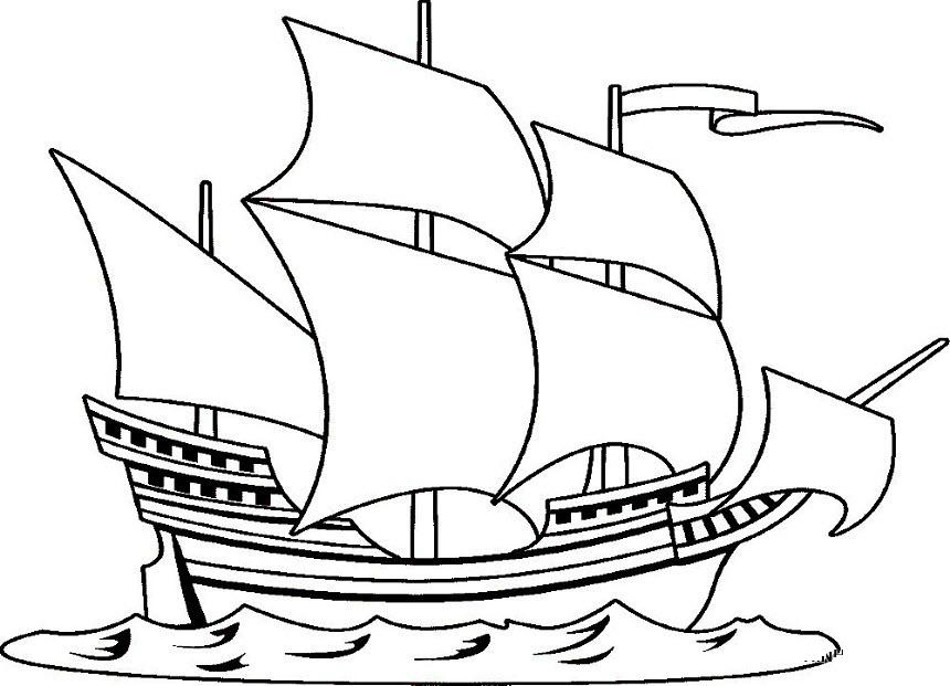 Tranh tô màu thuyền buồm cho bé 5 tuổi