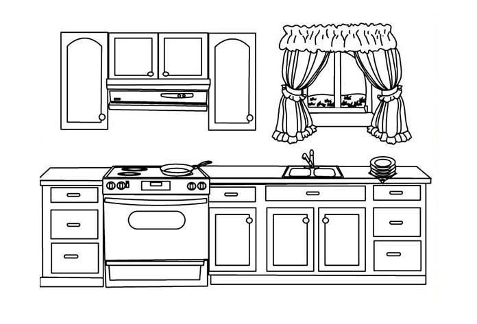 Tranh tô màu tủ bếp cho bé 5 tuổi tập tô màu
