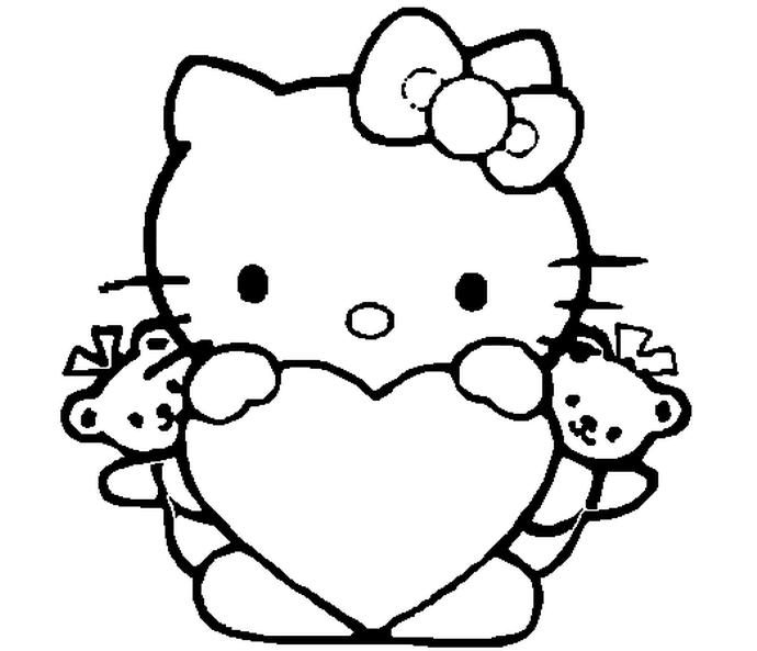 Bé tập tô màu Hello Kitty