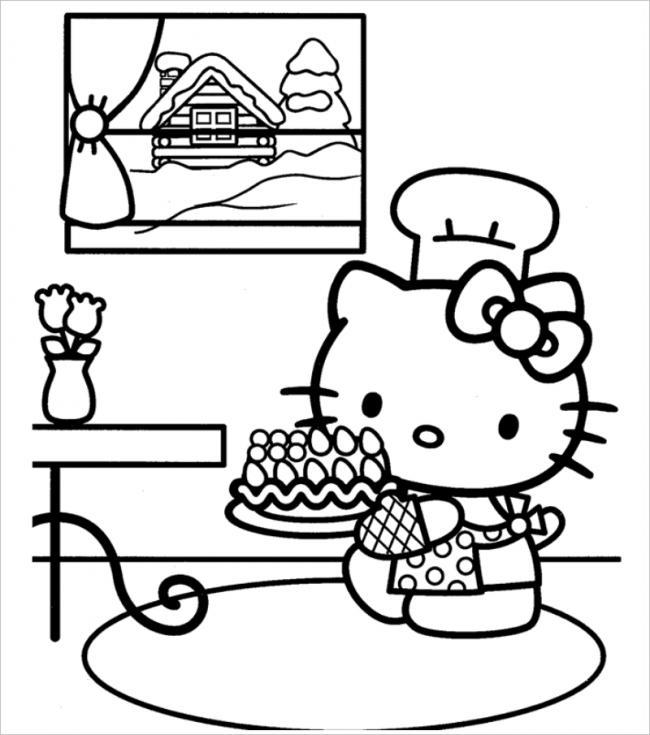Hình ảnh mèo Kitty cho bé tập tô màu