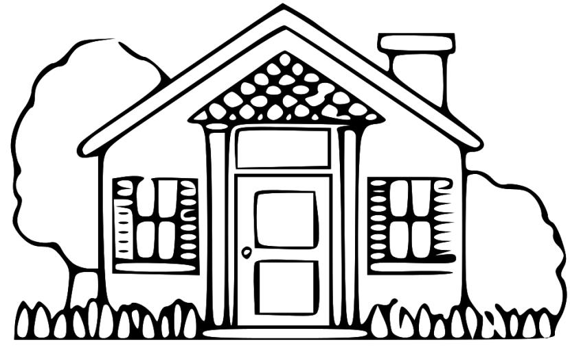 Hình cho bé tập tô chủ đề ngôi nhà