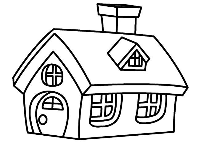 Hình cho bé tập tô màu chủ đề ngôi nhà