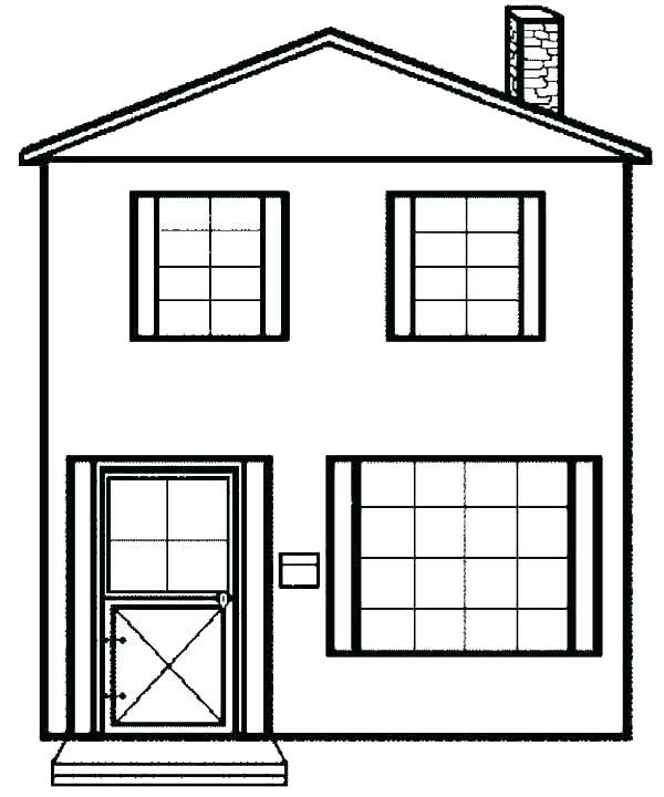 Hình cho bé tập tô màu ngôi nhà 2 tầng