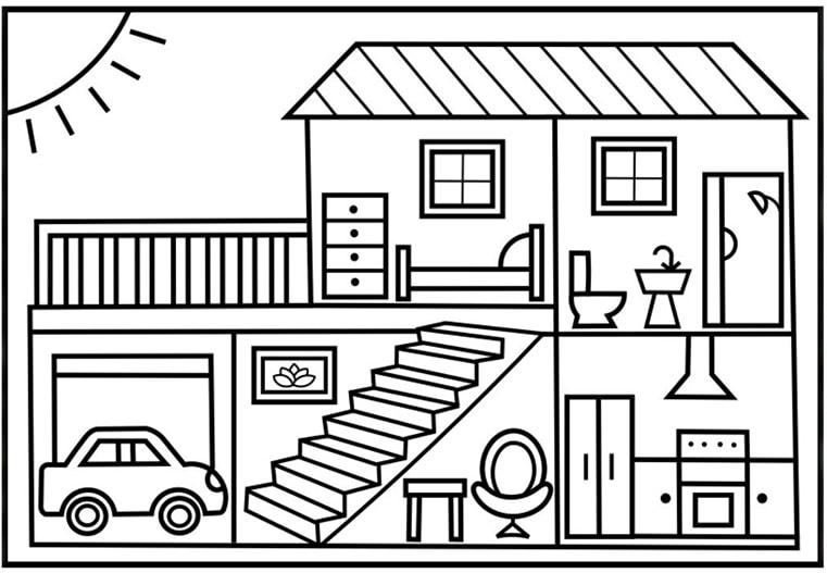Hình cho bé tập tô màu ngôi nhà