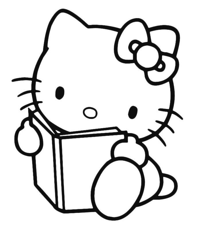 Hình mèo Kitty cho bé tập tô màu
