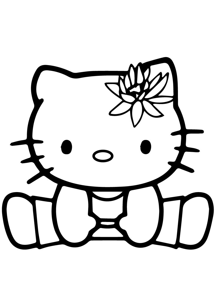 Hình mèo Kitty cho bé tập tô