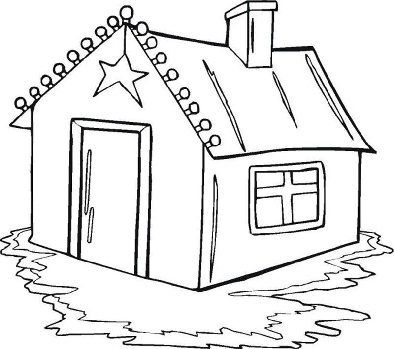 Hình ngôi nhà cho bé tập tô màu (2)