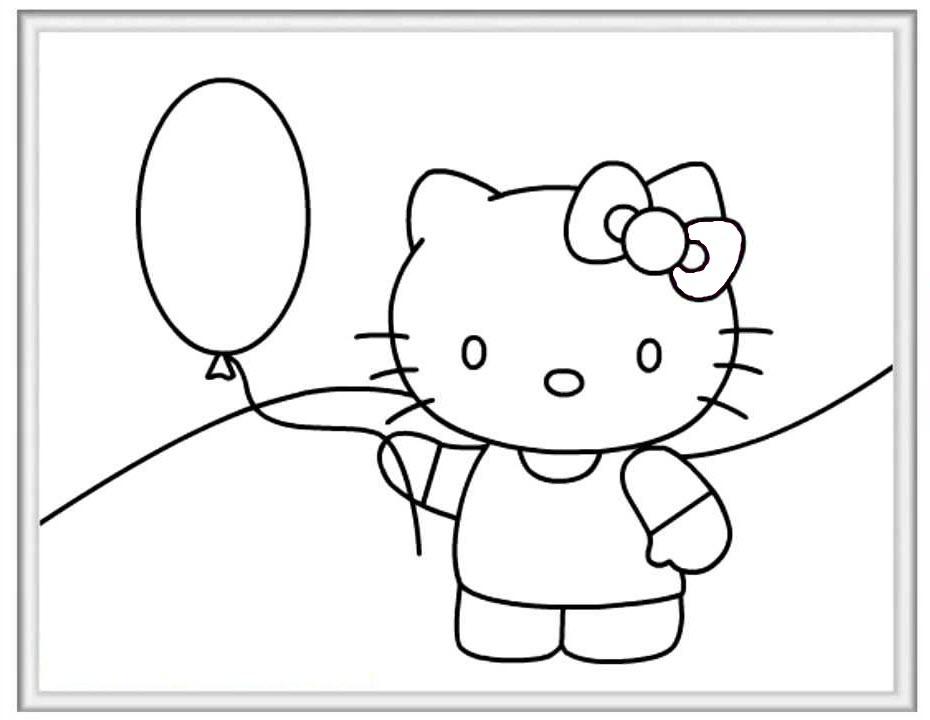 Hình tập tô màu mèo Kitty cho bé gái